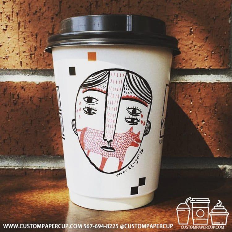 face strange animal custom paper cup design
