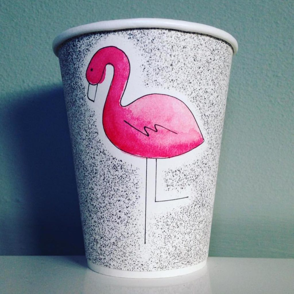 flamingo prink custom drink cup
