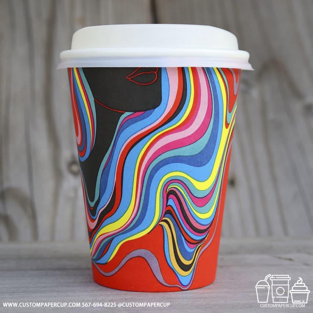 girl colorful hair custom printed paper cup