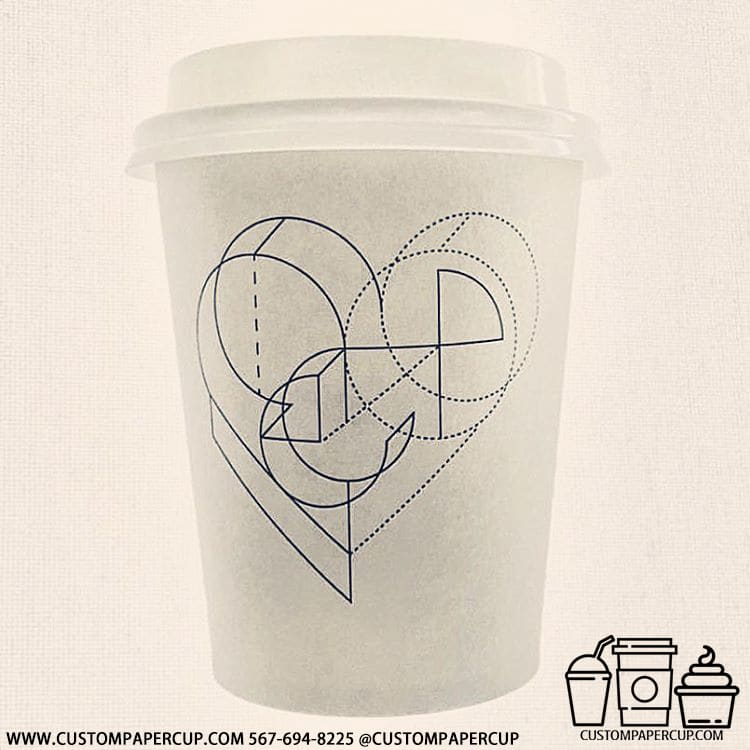 heart 3d letters schematical custom printed cup