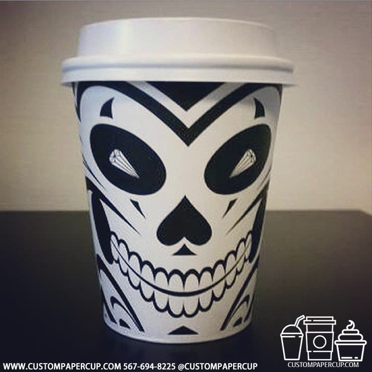 mask skull cards scary paper cup