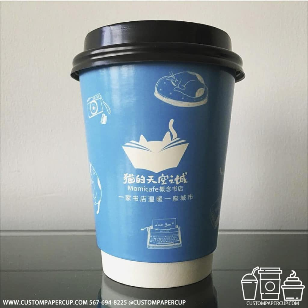 momicafe bookstore blue japanese double wall cup