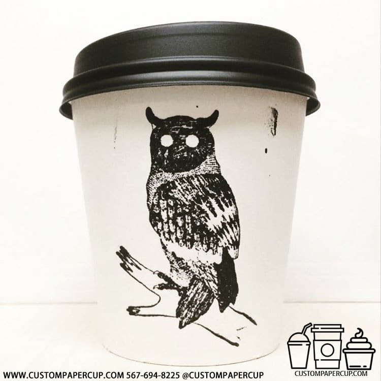 owl branch black white custom printed cup