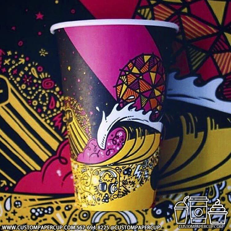 wave mosaic full wrap custom cup