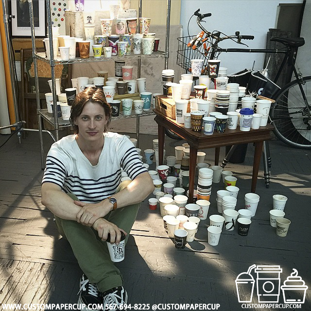 artist painter workshop custom printed paper coffee cups