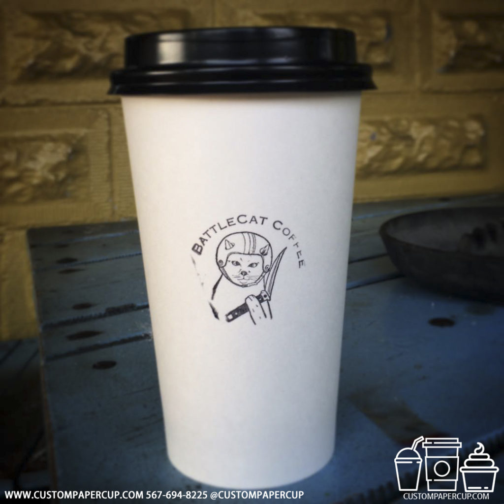 battlecatcoffee logo custom printed paper coffee cups