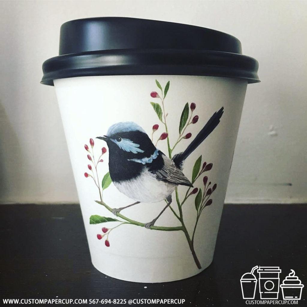 bird small custom printed paper coffee cups
