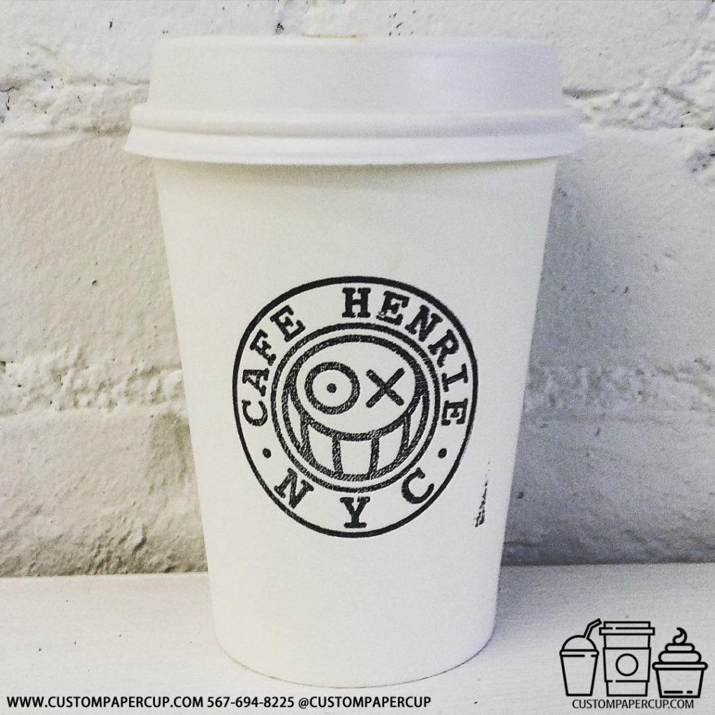 cafehenrie logo smile nyc custom printed coffee cup