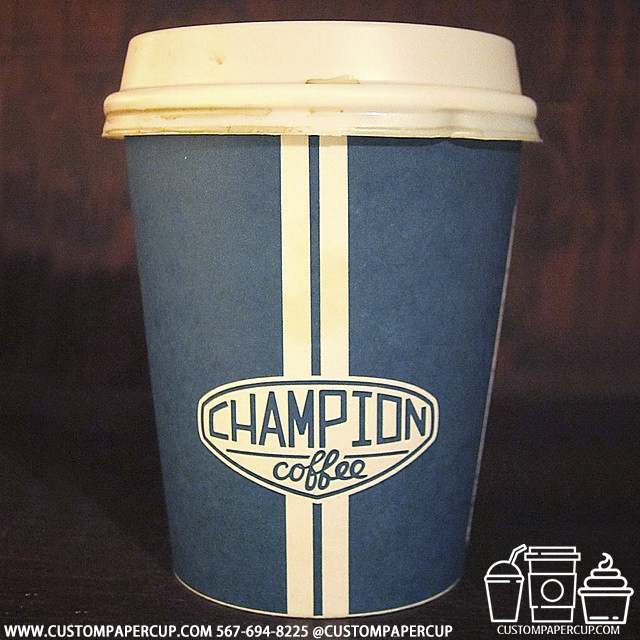 championcoffee strip custom printed paper coffee cups