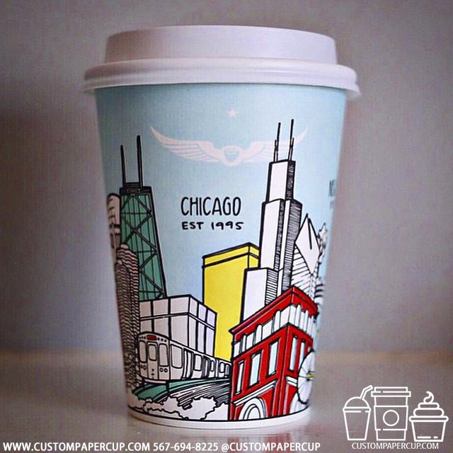 chicago monument 1995 custom printed paper coffee cups