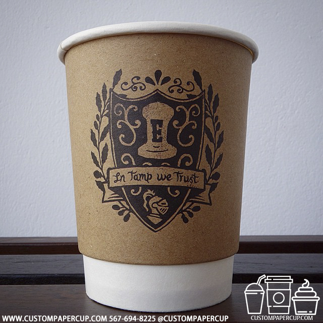 coat arms trust tamp custom printed paper coffee cups
