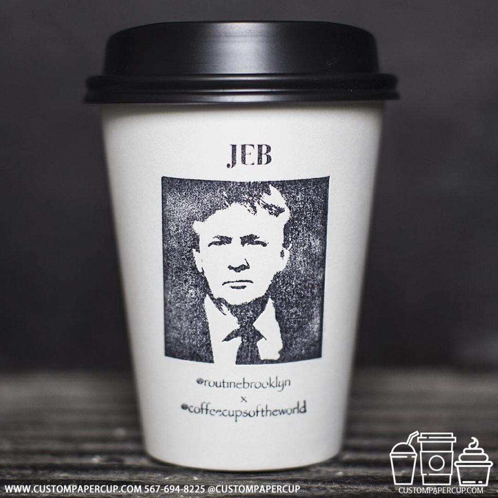 coffeecupsoftheworld jeb trump logo custom printed coffee cup