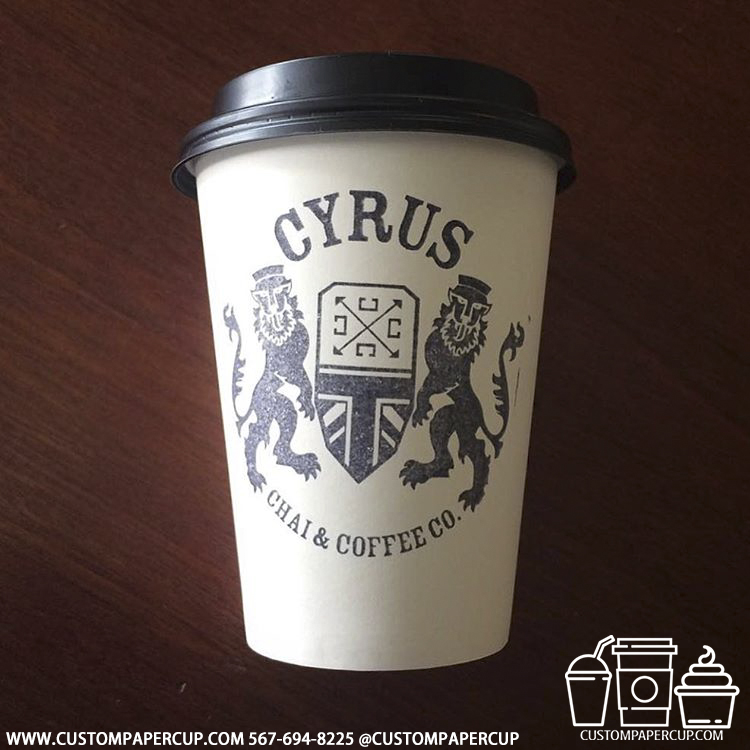 cyrus lions logo coat arms custom printed paper coffee cups