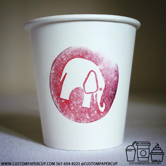 elephant circled logo custom printed paper coffee cups
