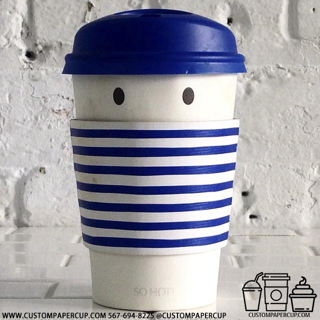 eyes dots sleeve lid custom printed paper coffee cups