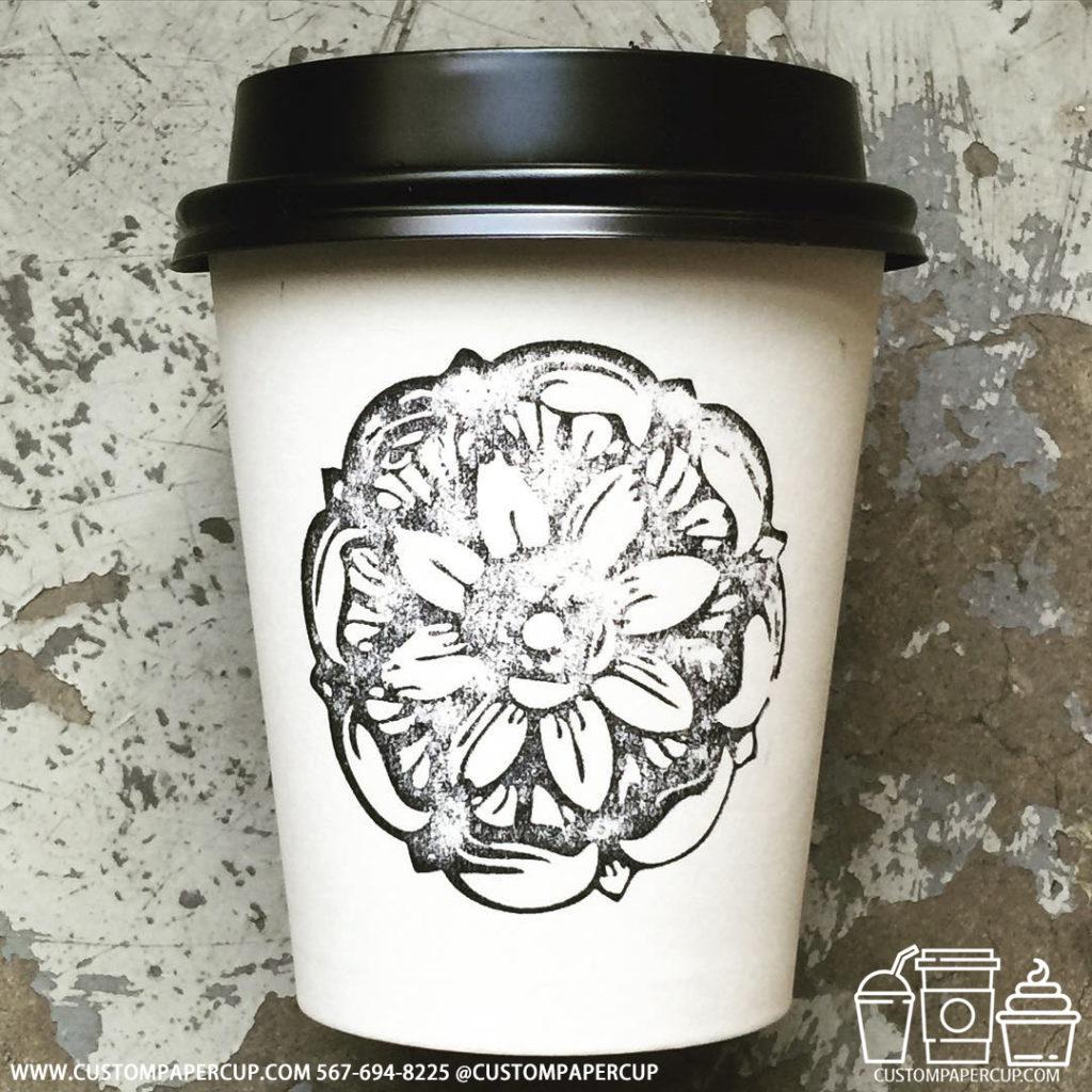 flower logo custom printed paper coffee cups