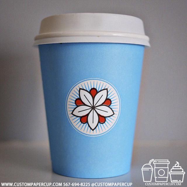 flower lotus logo custom printed paper coffee cups