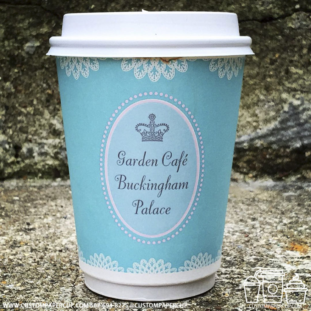 gardencafe buckingam palace crown logo custom printed coffee cup