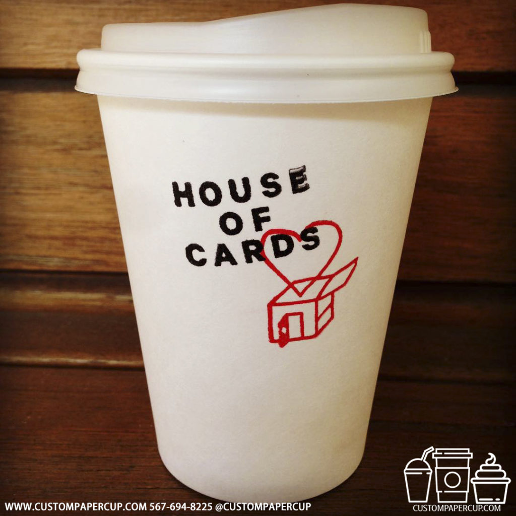 house cards logo custom printed paper coffee cups