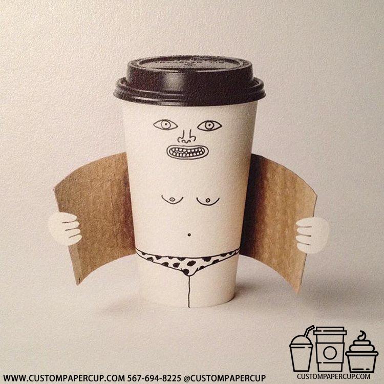 human nude sleeve minimal custom printed paper coffee cups