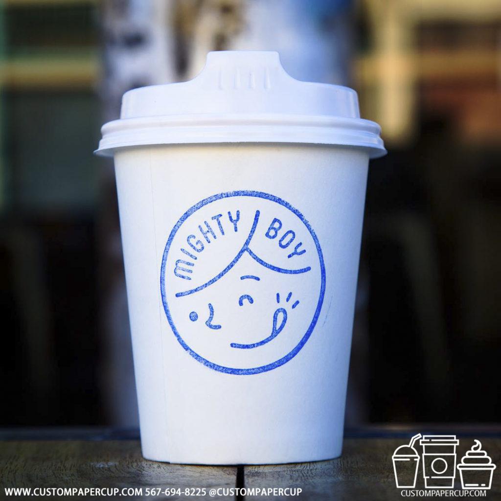 mighty boy logo custom printed paper coffee cups