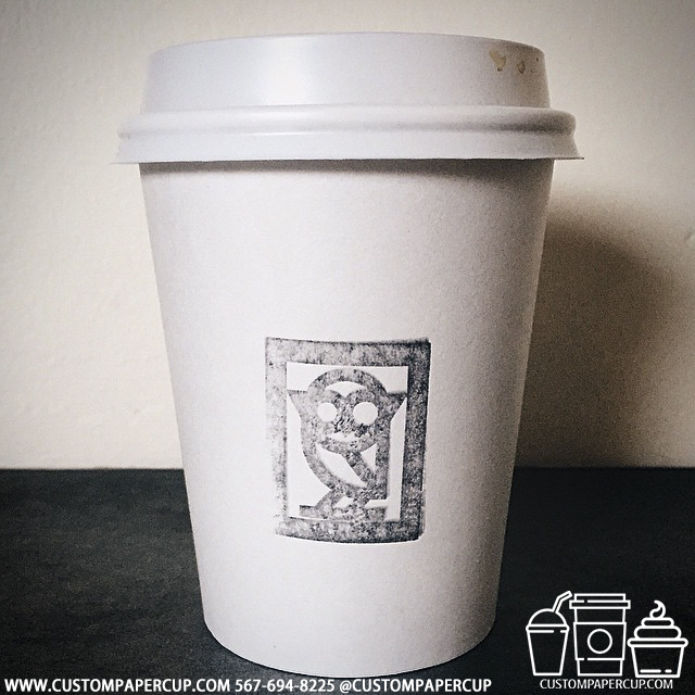 owl logo custom printed paper coffee cups