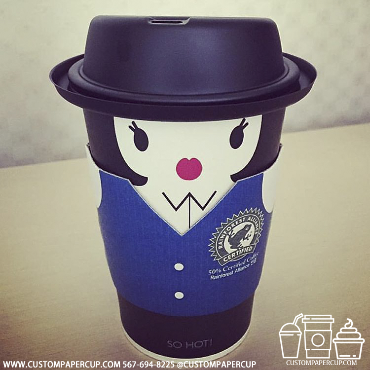 penguin animal sleeve coat custom printed coffee cup