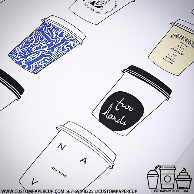 scheme drawing design custom printed paper coffee cups