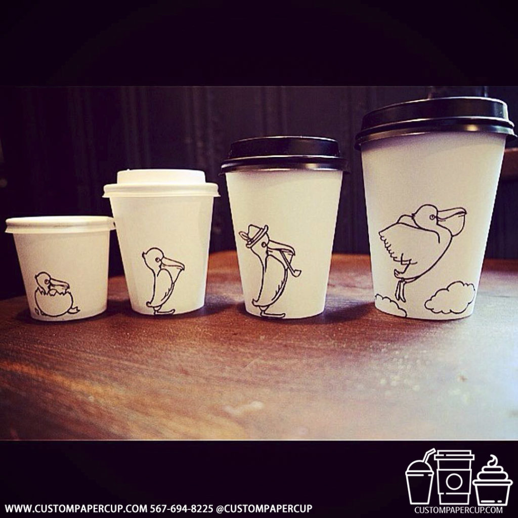 size grown bird custom printed paper coffee cups