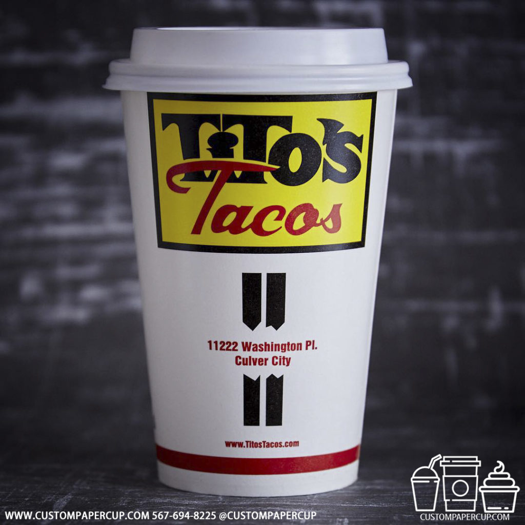 titostacos branding logo custom printed paper coffee cups