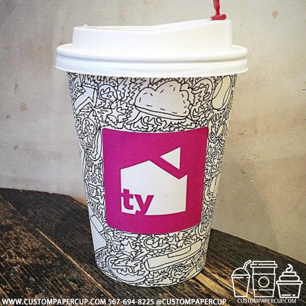tycoffee pink logo custom printed paper coffee cups