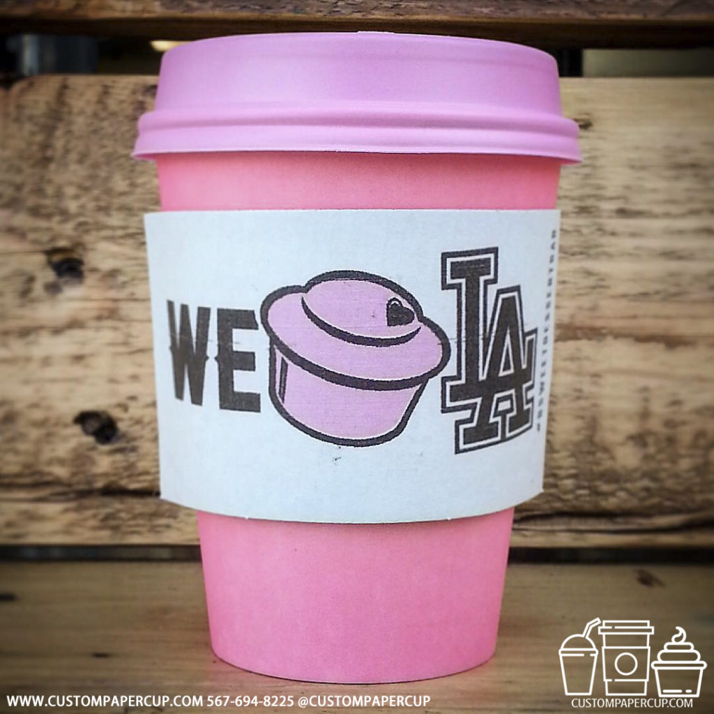 we love los angeles sleeve custom printed paper coffee cups