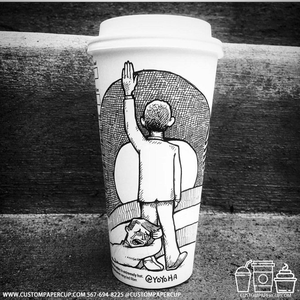 yoyoha painting hand custom printed paper coffee cups